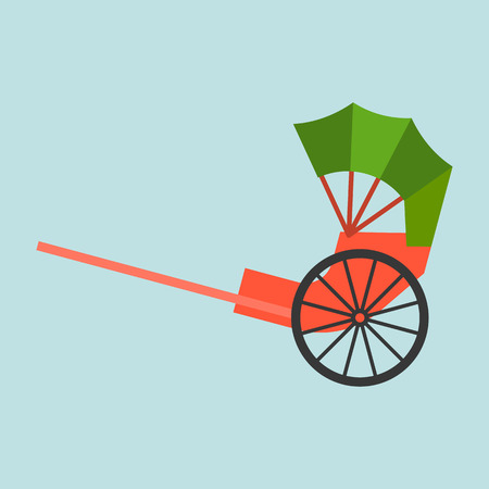 Hong kong rickshaw icon, flat design vector