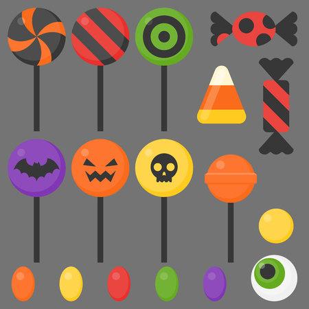 Halloween candy, flat design icon vector illustration.