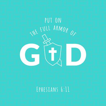 Bibelvers von Ephesians, zog die volle Rüstung von Gott und Schwert und Schild an, typografisch auf geometrischen Hintergrund Standard-Bild - 85277030