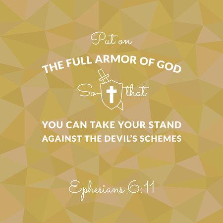 Bibelvers von Ephesians auf Polygonhintergrund setzte die volle Rüstung von Gott an Standard-Bild - 85276988