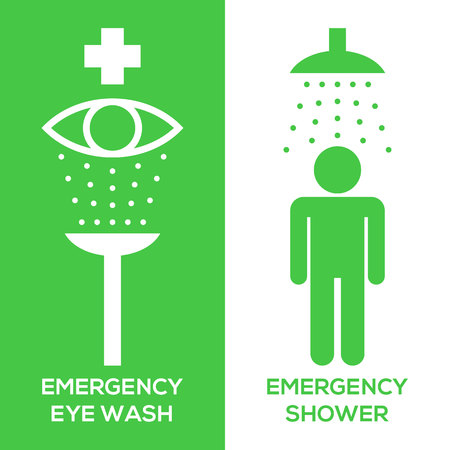 emergency eye wash and emergency shower pictogram icon, silhouette design Zdjęcie Seryjne - 85573051