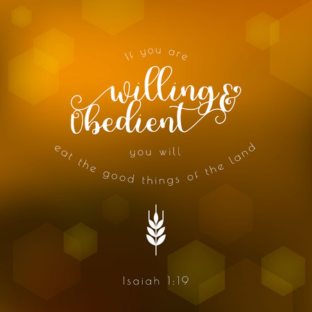 bible quote typographic for thanksgiving day on hexagon bokeh background Illustration