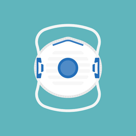 industrial respiratory mask with valve, flat design vector