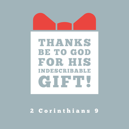 thanks be to god for his indescribable gift from 2 corinthians, bible quote for poster or print on t shirt