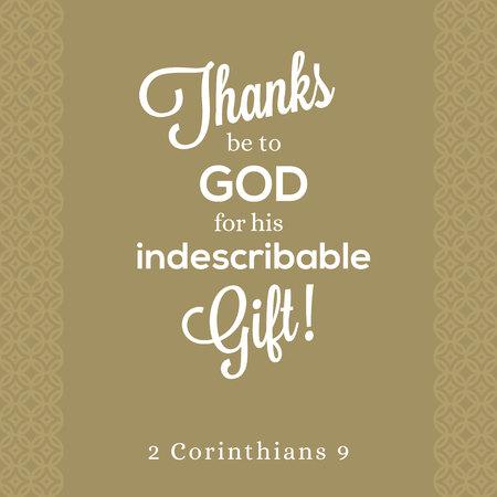 감사합니다. 고린도 후서 2 장에 나오는 형언 할 수없는 선물, 포스터를위한 성서의 인용문 또는 우아한 배경의 티셔츠에 인쇄하십시오.