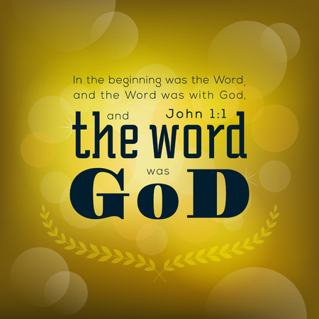 Bible quote from john 1:1, in the beginning the word was god, typography on bokeh background Stock Illustratie