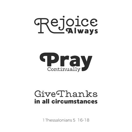 Christian bible quote for use as poster or flying about rejoice, pray and give thanks from Thessalonians. 일러스트
