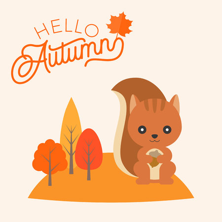 caligraphy: Hello autumn hand lettering font headline with squirrel and maple leaf for fall season, flat design vector