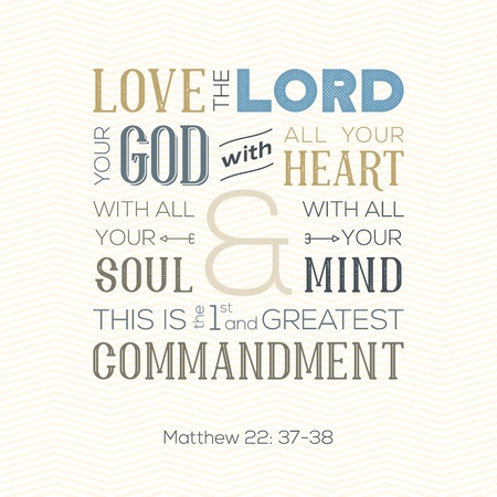 Typography of bible quote for print or use as poster in flat background. Ilustração
