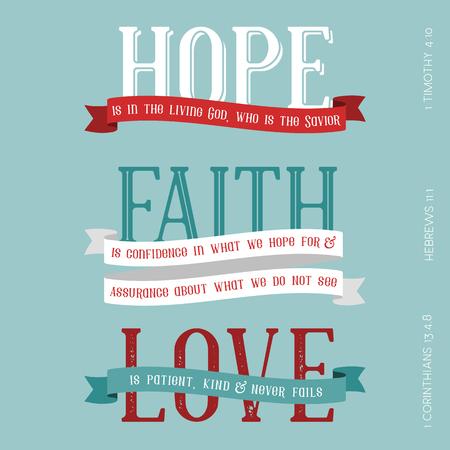 Hoffnung, Glaube, Liebesbedeutung aus der Bibel, Typografie-Schlagzeile aus Hebräer, Korinther und Timotheus Standard-Bild - 88228693
