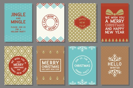 Merry Christmas typography and elements for holidays with greeting card template and pattern in retro style Illustration
