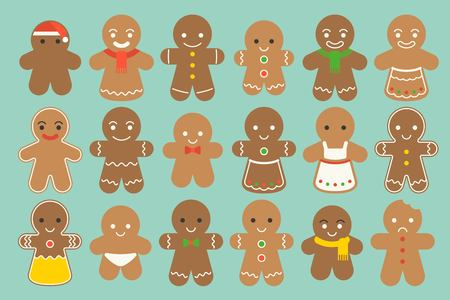 Set of different Gingerbread man with  different fashion such as Christmas hat, bow tie, maid, scarf in flat design