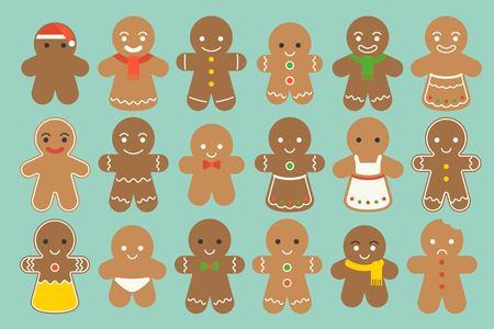Set van verschillende Gingerbread man met verschillende mode zoals kerstmuts, strikje, meid, sjaal in platte ontwerp