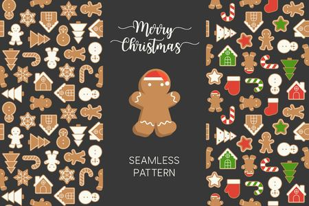 Seamless pattern of different Gingerbread men cookie for Christmas