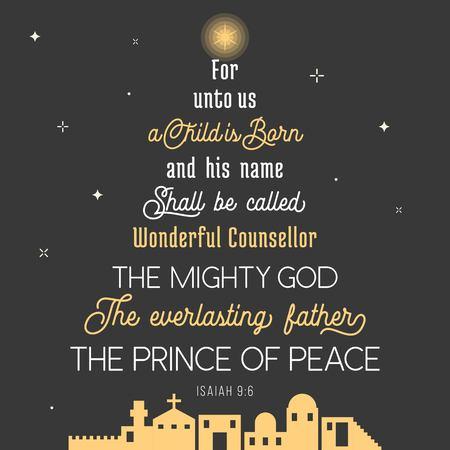 Typografie des Bibelvers aus Chroniken zu Weihnachten, denn für uns wird ein Kind geboren, sein Name soll wunderbarer Verdecker, der mächtige Gott, der ewige Vater, Friedensfürst genannt werden
