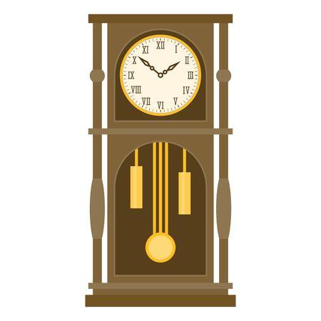 Vintage grandfather Pendulum Clock Vector Illustration with roman number, flat design