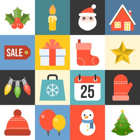 Vector Christmas icon set 1 in flat design Illustration