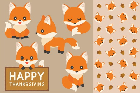 seamless pattern of fox and acorn, fox in varies position for happy thanksgiving, flat design illustration