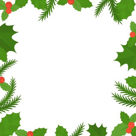 Christmas frame border, mistletoe and spruce in flat design