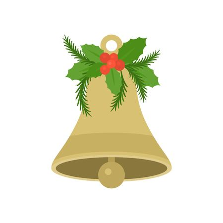 Christmas bell with holly in flat design