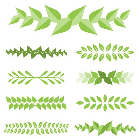 Vector laurel leaves icon set, flat design.