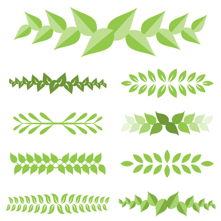 Vector laurel leaves icon set, flat design.