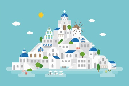 Flat design of Santorini cityscape view included landmark church, wind mill, building, beach umbrella, beach chair