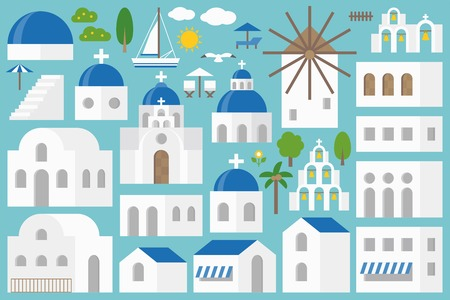 Santorini elements constructor set, vector illustration.