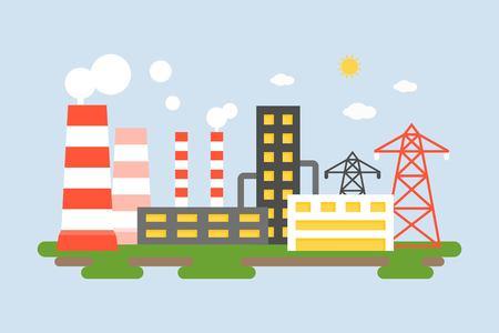 Paisaje de la estación de energía, planta de energía en diseño plano Foto de archivo - 90666969