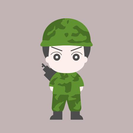 A Vector soldier cartoon, flat design.