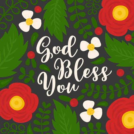 God bless you hand lettering quote with floral and leaves doodles, for used as poster or printing on t-shirt, bag, greeting card Vectores