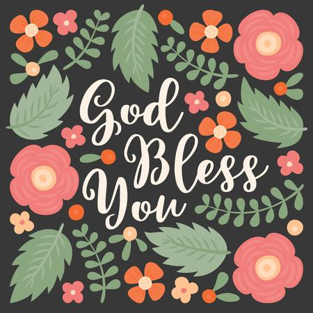 God bless you hand lettering quote with floral and leaves doodles, for used as poster or printing on t-shirt, bag, greeting card Çizim
