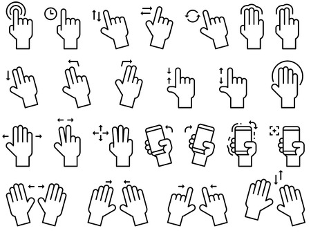 Hand gestures line icon set for touch screen or application interface