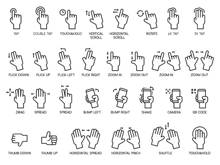 Hand gestures and touch screen icon set. Illustration