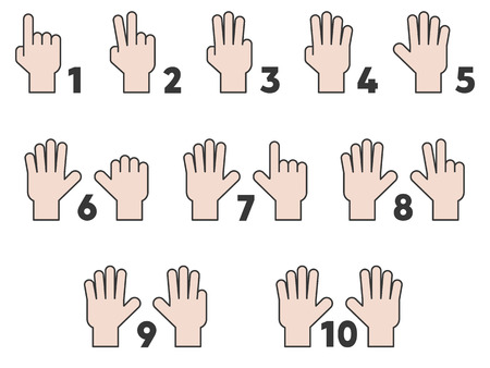 Children hand counting number one to ten, teaching material resource for kindergarten, flat design vector