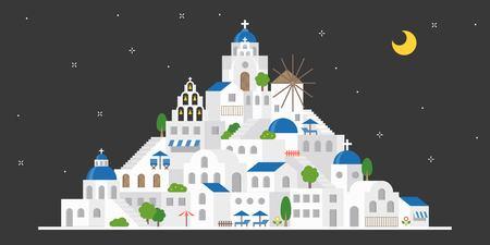 Santorini, Greece in night scene, flat design include landmark, church, windmill