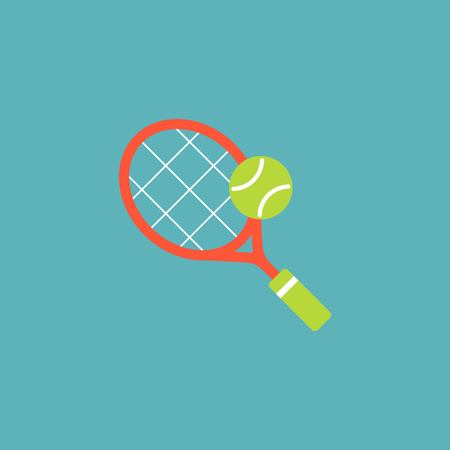 Racket and tennis ball vector.