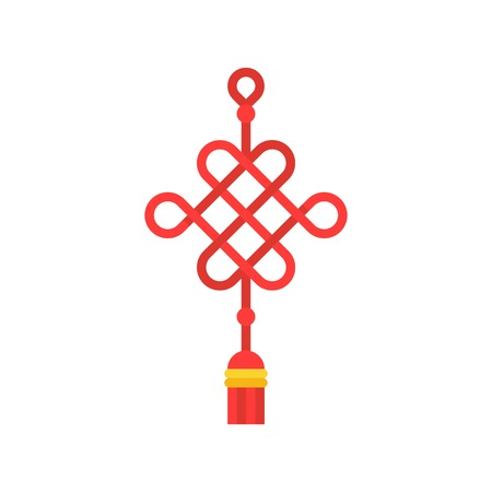 Chinese knot vector, Chinese traditional decorative for lunar new year in flat design Vectores