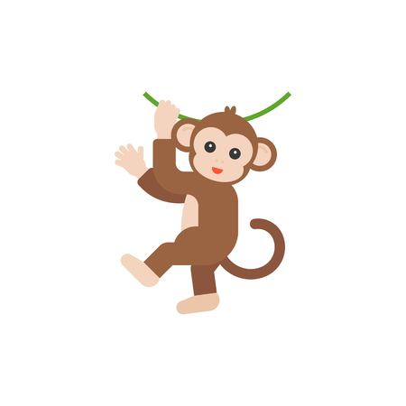 Monkey hanging on vine vector