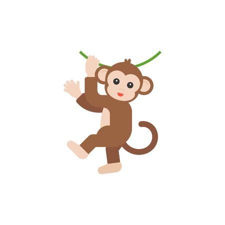 Monkey hanging on vine vector