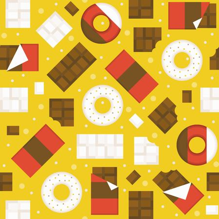 Chocolate bar and donuts seamless pattern background for wrapping paper gift, flat design