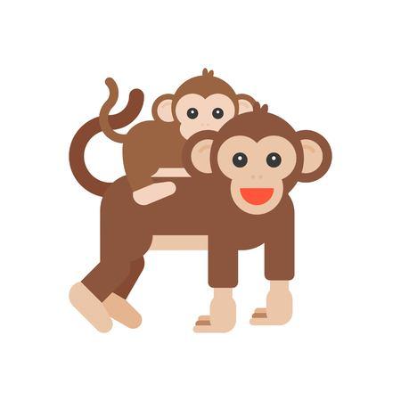Baby monkey riding piggyback with mom, flat design