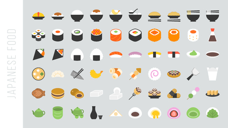 Big set of japanese food and beverage flat icon sushi, yakisoba, takoyaki, onigiri, green tea, sake, dorayaki, mochi, rice ball, miso soup, tofu, oden, dango, taiyaki, tempura, ramen, rice bowl, gyoza Ilustração