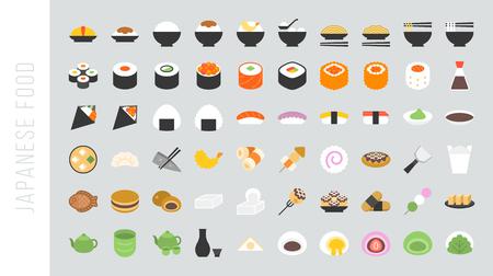 Big set of japanese food and beverage flat icon sushi, yakisoba, takoyaki, onigiri, green tea, sake, dorayaki, mochi, rice ball, miso soup, tofu, oden, dango, taiyaki, tempura, ramen, rice bowl, gyoza Illustration