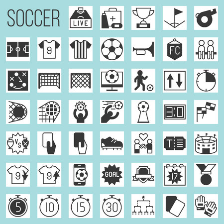 Soccer silhouette icons, rules and elements such as goal, match of the day, red card, referee, scoreboard, tournament, first aid, football field, arena, fan club, strategy, whistle, foal, stud shoes, timer. Vettoriali