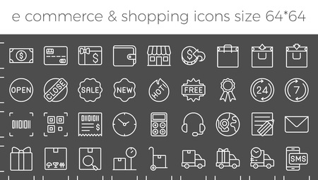 E commerce, shopping and delivery icons set for online business in website and apps size  64 pix build with grid, such as call center, delivery, sales, promotions, return money policy, working hours