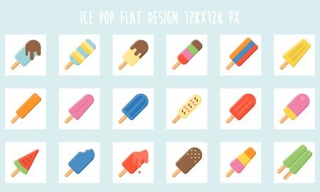 다채로운 아이스크림 바 아이콘 세트, 평면 디자인 일러스트