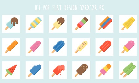 Colorful Ice cream bar icon set, flat design