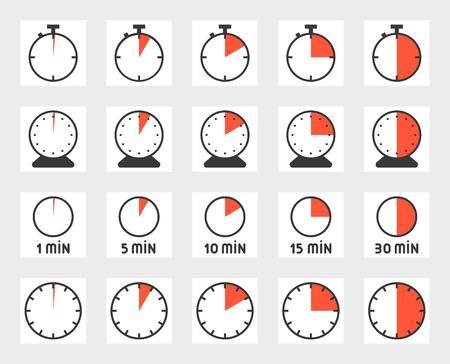 시간, 픽셀 완벽 한 아이콘이 설정합니다. 크기 128 px, 4 px 획 그림. 일러스트
