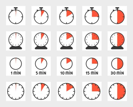 Time duration, pixel perfect icon set. Size 128 px, 4 px stroke illustration. Reklamní fotografie - 94018779